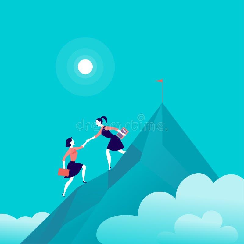 Vector vlakke illustratie met bedrijfsdames die samen op berg piekbovenkant beklimmen op blauwe betrokken hemelachtergrond vector illustratie