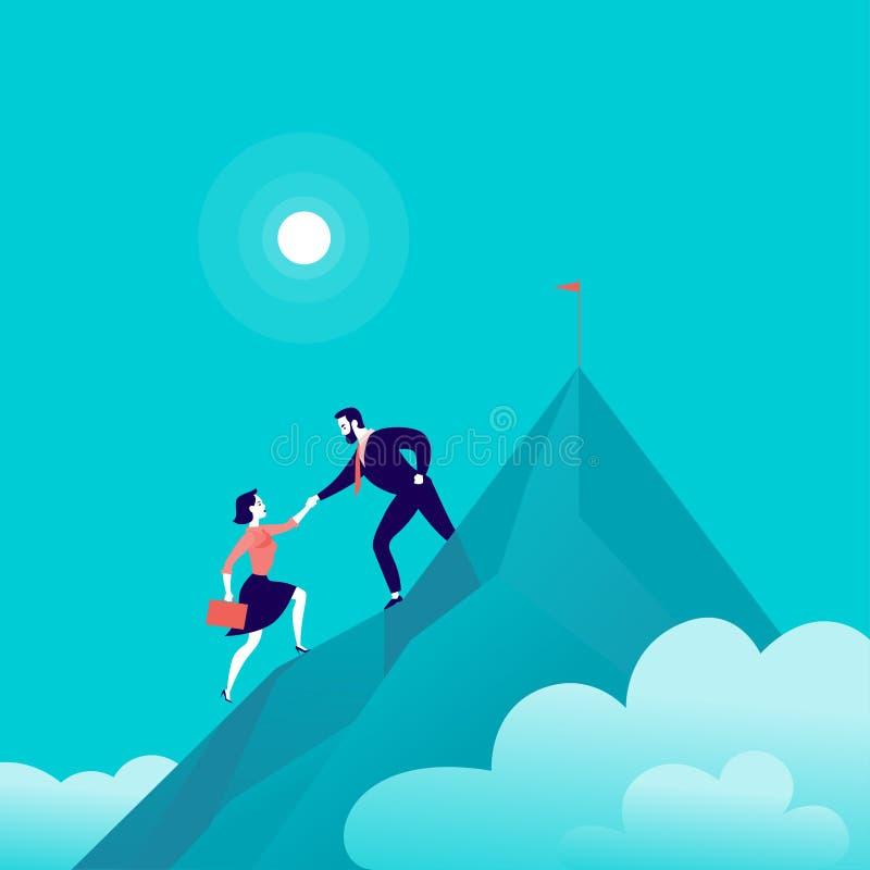 Vector vlakke illustratie met bedrijfsmensen die samen op berg piekbovenkant beklimmen op blauwe betrokken hemelachtergrond stock illustratie