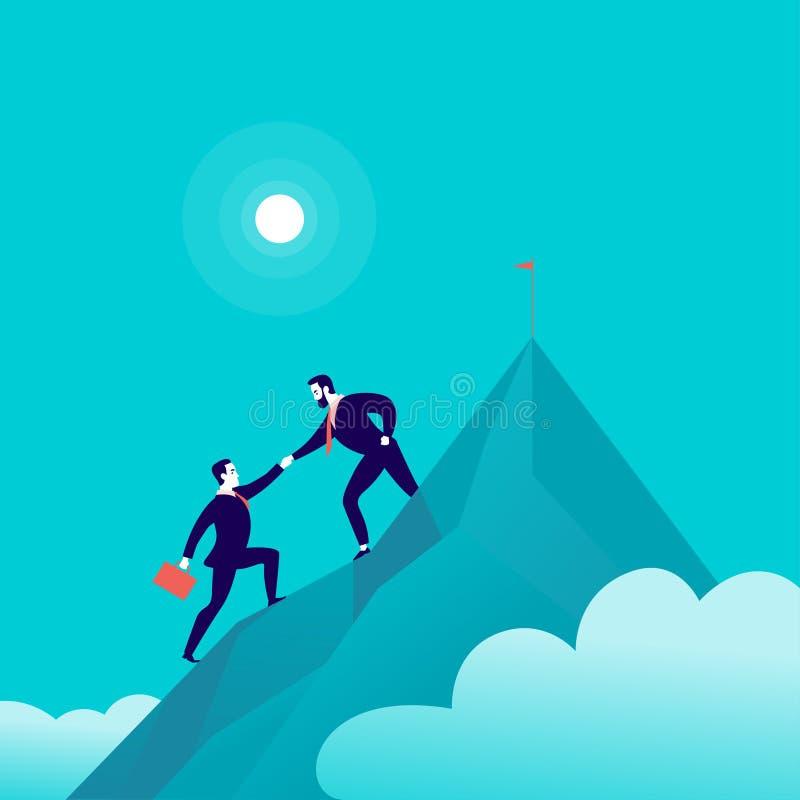 Vector vlakke illustratie met bedrijfsmensen die samen op berg piekbovenkant beklimmen op blauwe betrokken hemelachtergrond vector illustratie