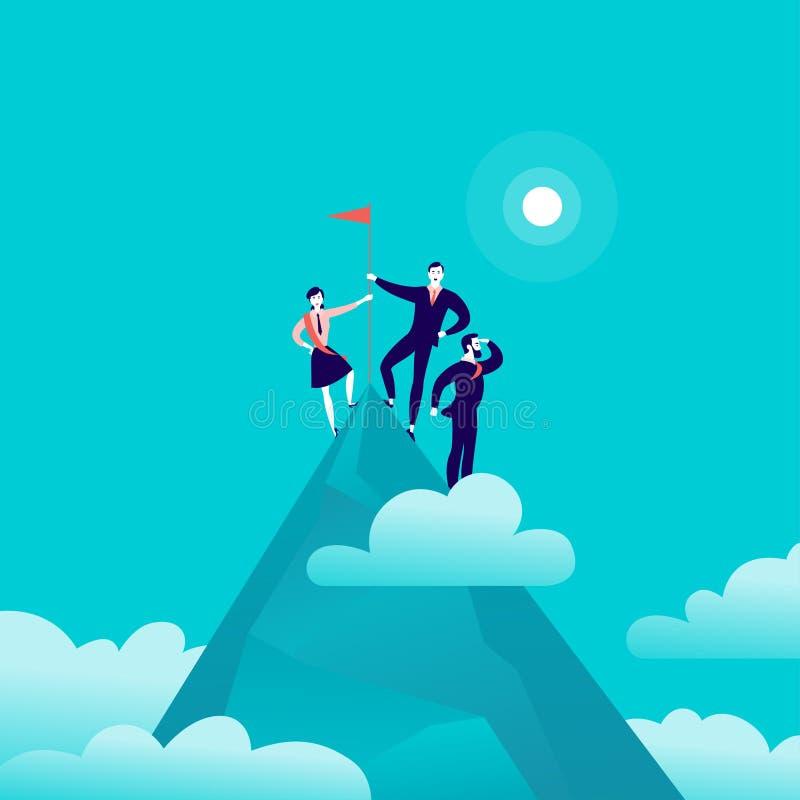 Vector vlakke illustratie met bedrijfsmensen die zich op vlag van de berg de piek hoogste holding op blauwe betrokken hemelachter royalty-vrije illustratie
