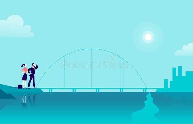 Vector vlakke illustratie met bedrijfsmensen die zich op zee kustbrug bevinden die stad aan een andere kant bekijken royalty-vrije illustratie