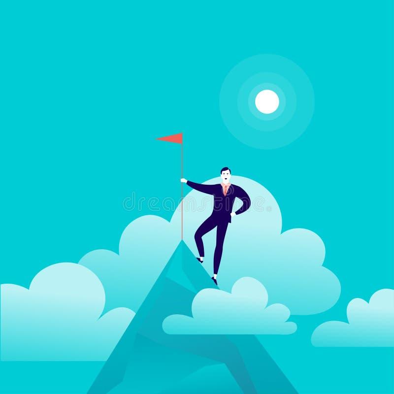 Vector vlakke illustratie met zakenman status bovenop vlag van de berg de piekholding op blauwe betrokken hemelachtergrond stock illustratie