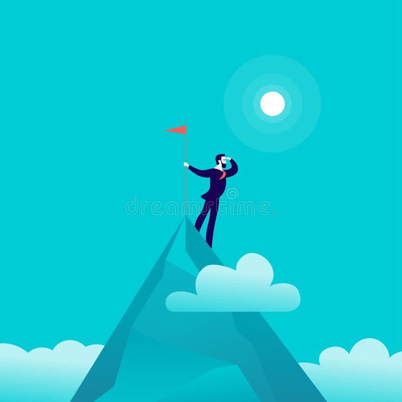 Vector vlakke illustratie met zakenman status bovenop vlag van de berg de piekholding op blauwe betrokken hemelachtergrond vector illustratie