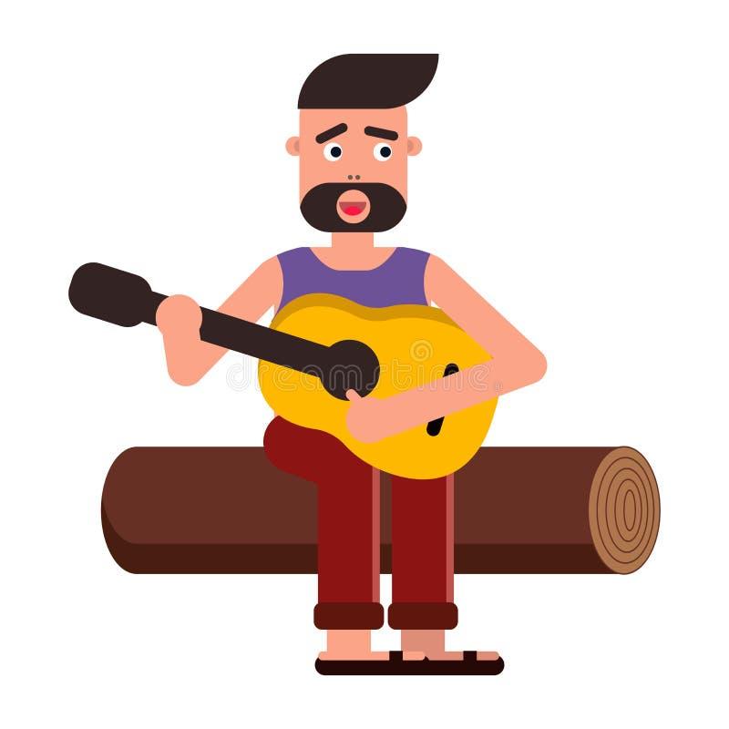 Vector vlakke illustratie, stijlbeeldverhaal Een mens zit op een logboek en speelt de gitaar, zingt een lied Aard en picknick royalty-vrije stock afbeeldingen
