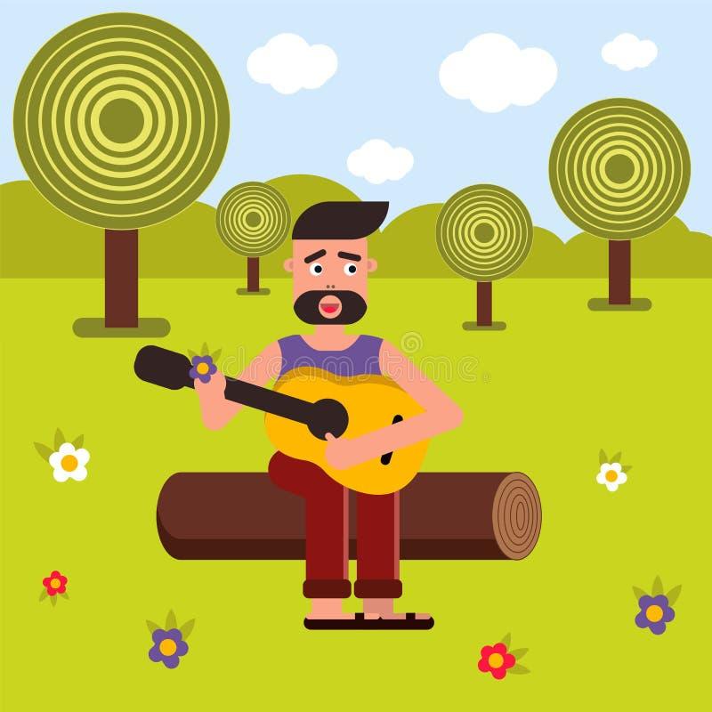 Vector vlakke illustratie, stijlbeeldverhaal Een mens zit op een logboek en speelt de gitaar, zingt een lied Aard en picknick stock afbeelding