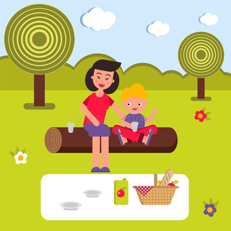 Vector vlakke illustratie, stijlbeeldverhaal Jonge gelukkige familie op een picknick Het mamma en het kind zitten op een logboek stock fotografie