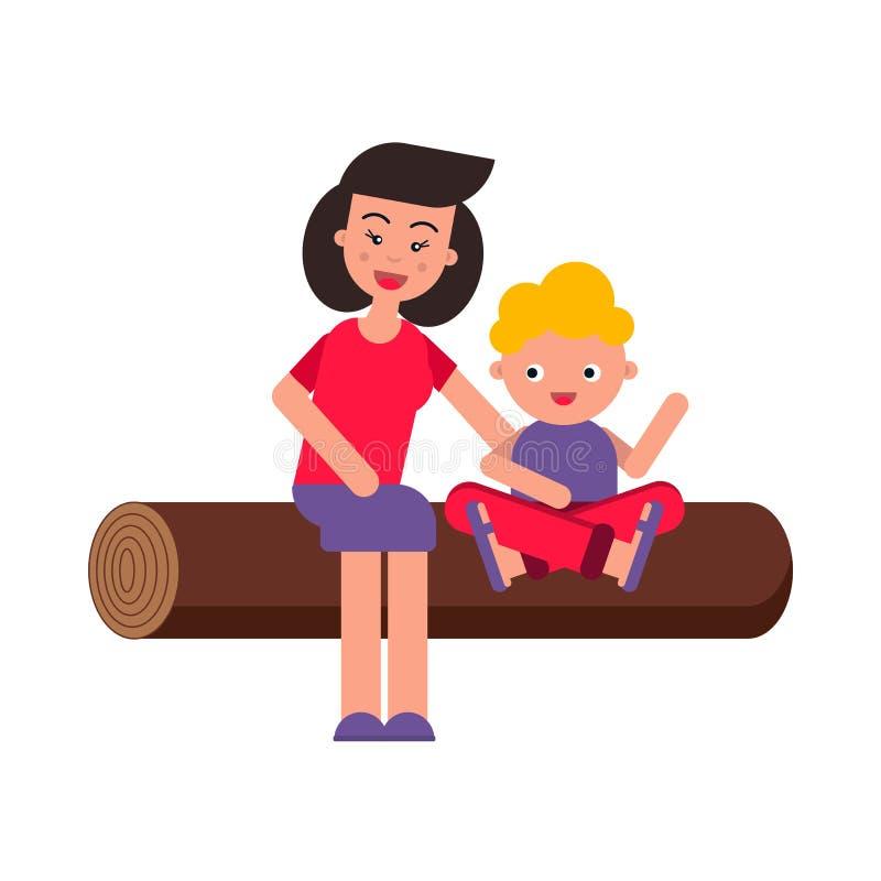 Vector vlakke illustratie, stijlbeeldverhaal Jonge gelukkige familie op een picknick Het mamma en het kind zitten op een logboek  stock afbeelding
