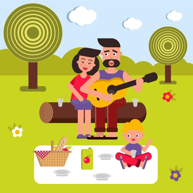 Vector vlakke illustratie, stijlbeeldverhaal Jonge gelukkige familie op een picknick Mamma, Papa en Baby Een lied met een gitaar stock fotografie
