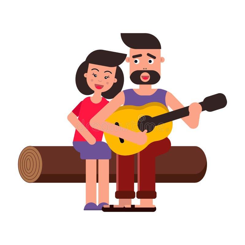 Vector vlakke illustratie, stijlbeeldverhaal Jonge gelukkige familie op een picknick Een paar in liefde, liederen en gitaar wit royalty-vrije stock foto