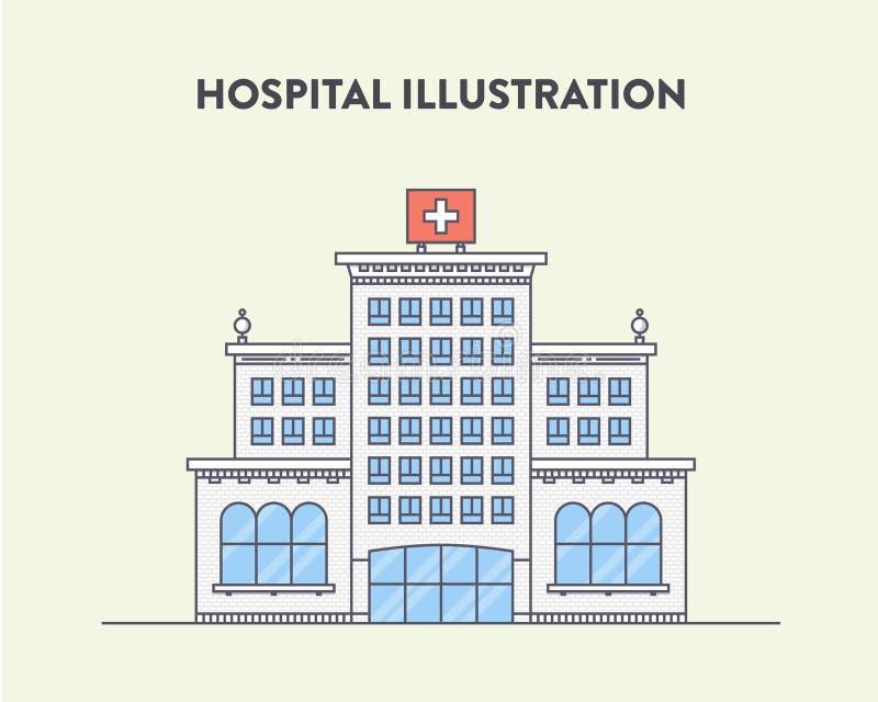 Vector vlakke illustratie van een het ziekenhuisgebouw royalty-vrije illustratie