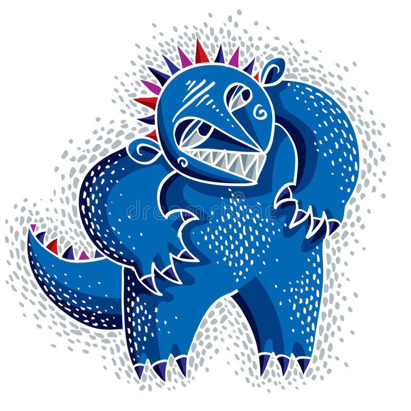 Vector vlakke illustratie van het karakter de bizarre monster, leuke blauwe mu vector illustratie