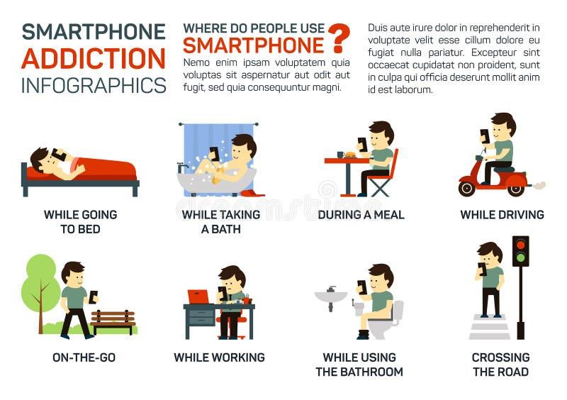 Vector vlakke illustratie van smartphoneverslaving Gevaar om het te gebruiken wanneer het naar bed gaan, hebbend een maaltijd, he vector illustratie