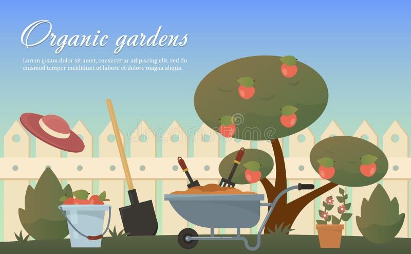 Vector vlakke illustratie van tuin landbouwtoebehoren, hulpmiddelen, instrumenten Materiaal voor het grondwerk Troffel, schop stock illustratie