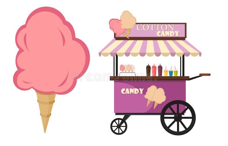 Vector vlakke illustratie van vervoer van het de suikervoedsel van de Gesponnen suikerkar het zoete royalty-vrije illustratie