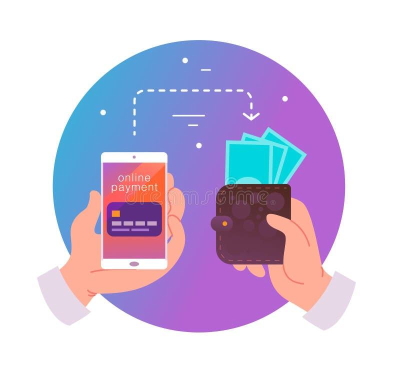 Vector vlakke illustratie voor online betalingen en transactie met menselijke smartphone van de handholding met creditcard op het stock illustratie