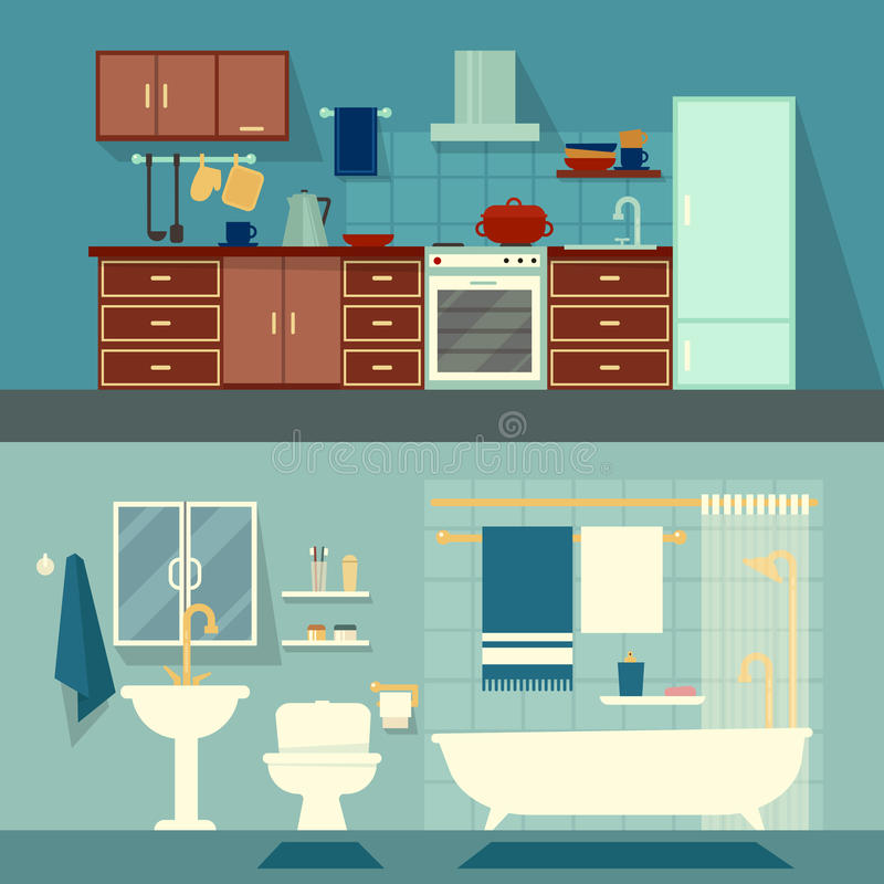 Vector vlakke illustratie voor ruimten van flat, huis Keuken van het huis de binnenlandse ontwerp en bad moderne decoratie met stock illustratie