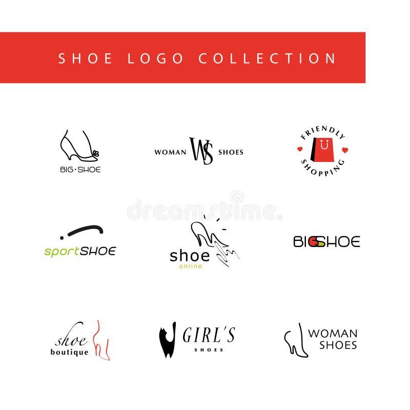 Vector vlakke inzameling van modieus modern schoenembleem voor vrouwen, mannen en jonge geitjes vector illustratie