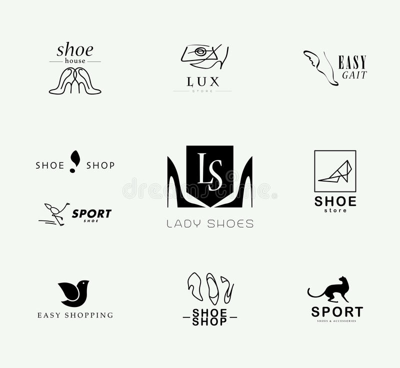 Vector vlakke inzameling van modieus modern schoenembleem voor vrouwen, mannen en jonge geitjes royalty-vrije illustratie