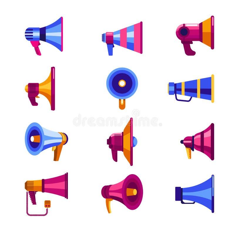 Vector vlakke isoalted kleurrijk van de megafoonmegafoon geplaatste pictogrammen vector illustratie