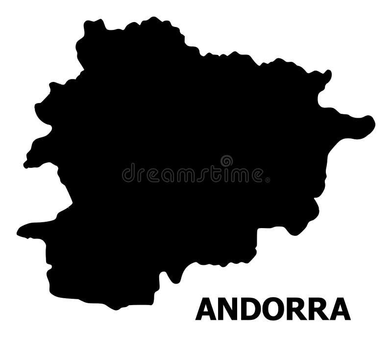 Vector Vlakke Kaart van Andorra met Titel stock illustratie