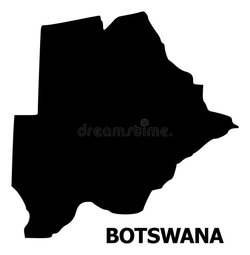 Vector Vlakke Kaart van Botswana met Titel vector illustratie