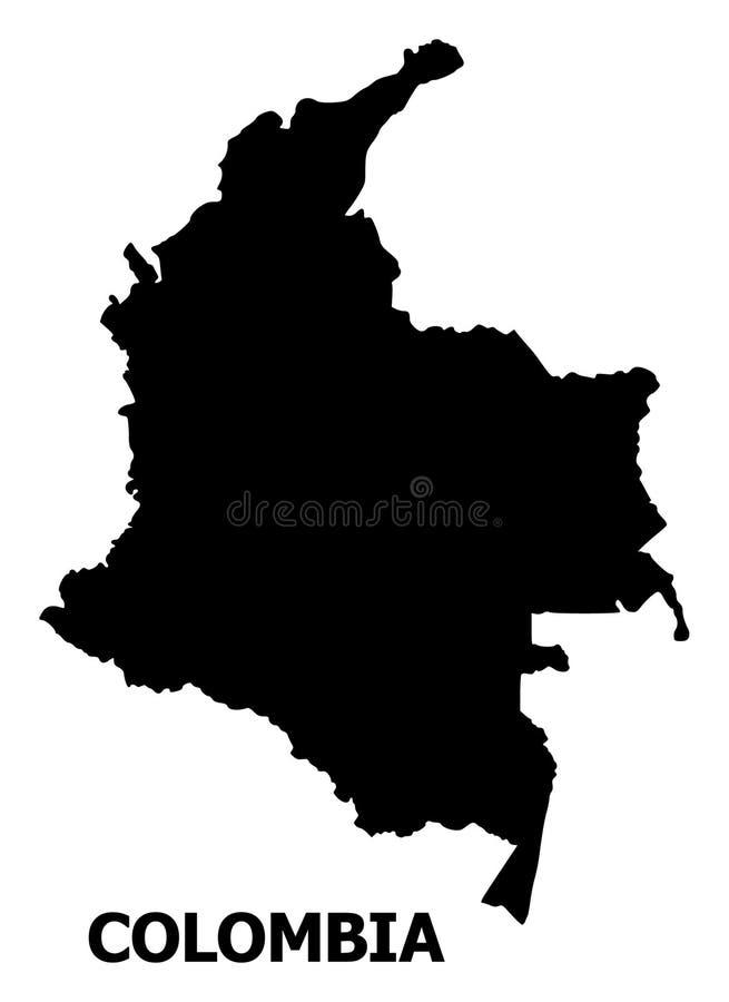 Vector Vlakke Kaart van Colombia met Naam royalty-vrije illustratie