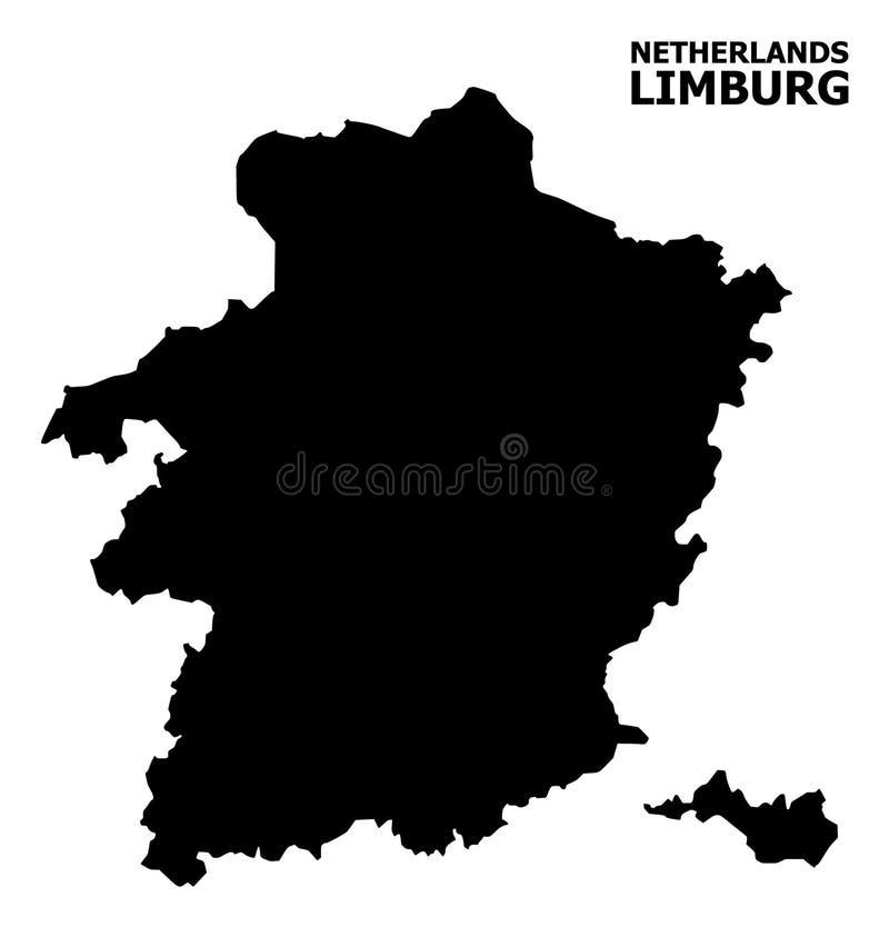 Vector Vlakke Kaart van de Provincie van Limburg met Naam vector illustratie