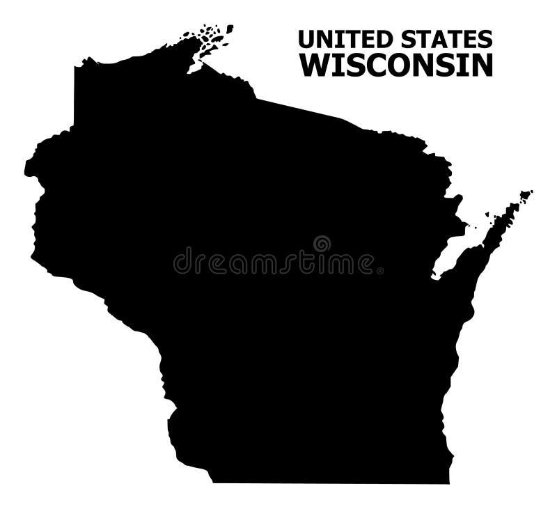 Vector Vlakke Kaart van de Staat van Wisconsin met Titel royalty-vrije illustratie