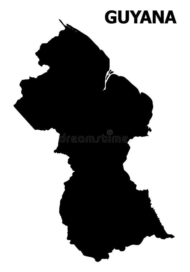Vector Vlakke Kaart van Guyana met Naam royalty-vrije illustratie
