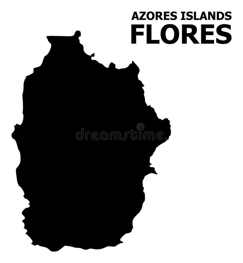 Vector Vlakke Kaart van het Eiland van de Azoren - Flores-met Naam stock illustratie
