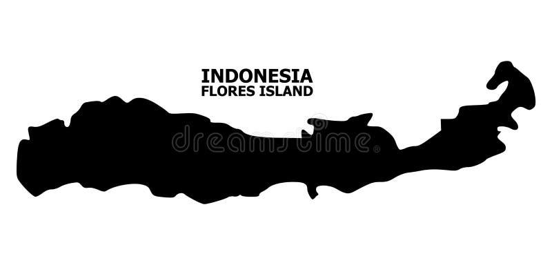 Vector Vlakke Kaart van Indonesië - Flores-Eiland met Titel royalty-vrije illustratie