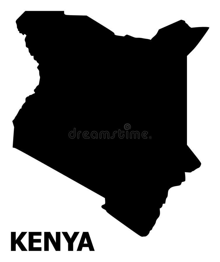 Vector Vlakke Kaart van Kenia met Titel vector illustratie