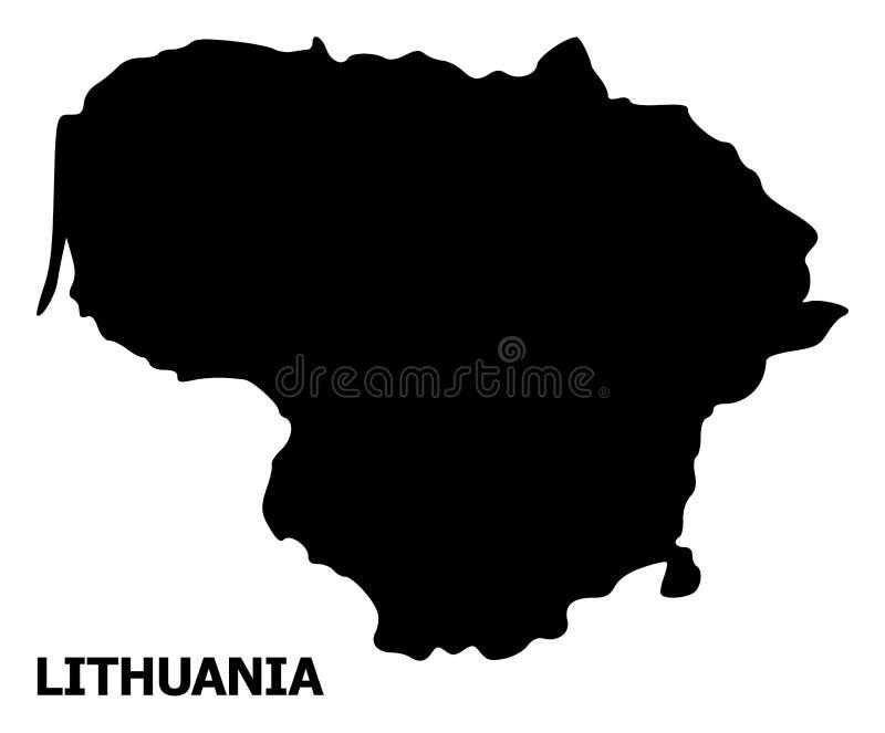 Vector Vlakke Kaart van Litouwen met Titel stock illustratie