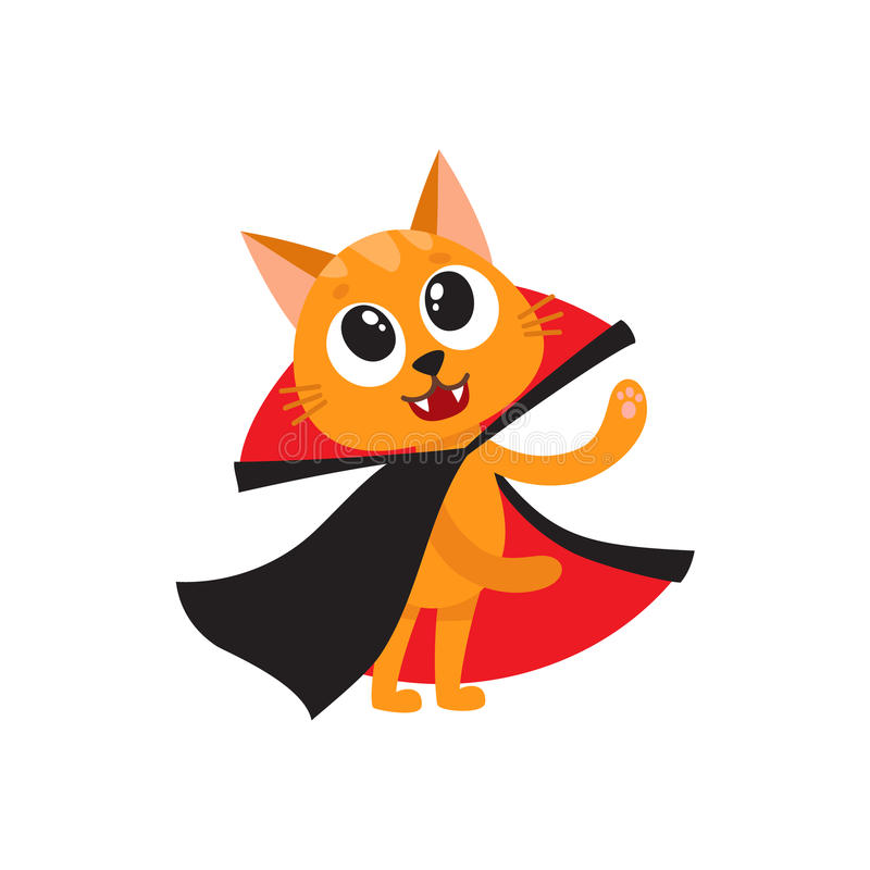 Vector vlakke kat omhoog gekleed als telling Dracula vector illustratie