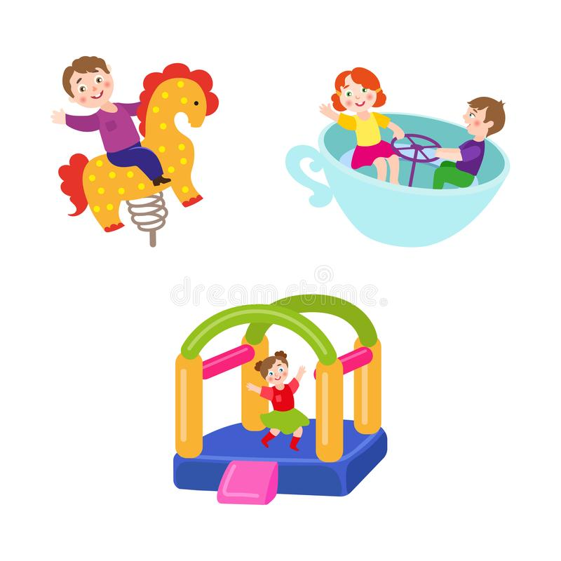 Vector vlakke kinderen bij pretparkreeks royalty-vrije illustratie