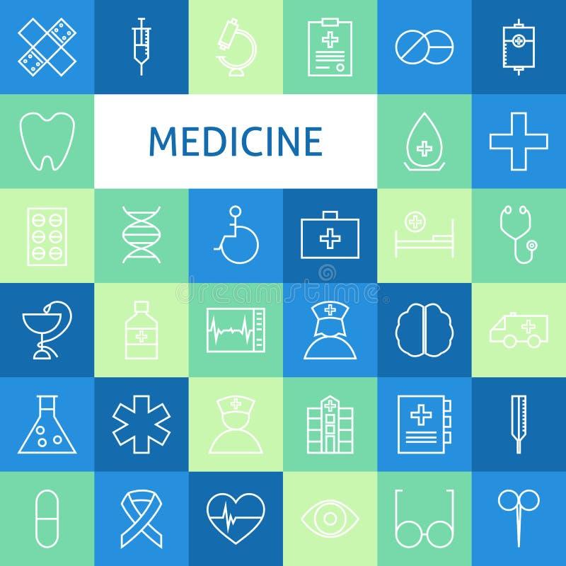 Vector Vlakke Lijn Art Modern Medicine en Gezonde Geplaatste het Levenspictogrammen stock illustratie