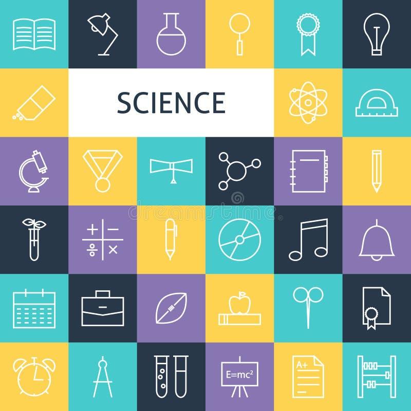 Vector Vlakke Lijn Art Modern Science Education en Schoolpictogrammen S stock illustratie
