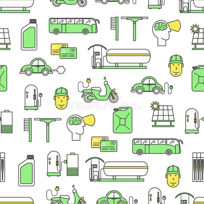Vector vlakke lijnkunst die naadloos patroon van brandstof voorzien royalty-vrije illustratie