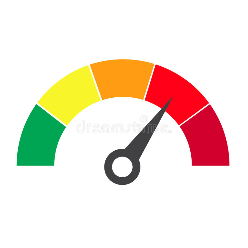 Vector vlakke ontwerpillustratie Snelheidsmeter of classificatiemeter sig stock illustratie