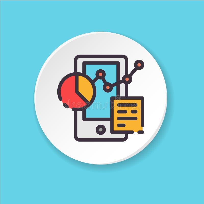 Vector vlakke pictogramgrafiek en grafiek in telefoon Knoop voor Web of mobiele app royalty-vrije illustratie