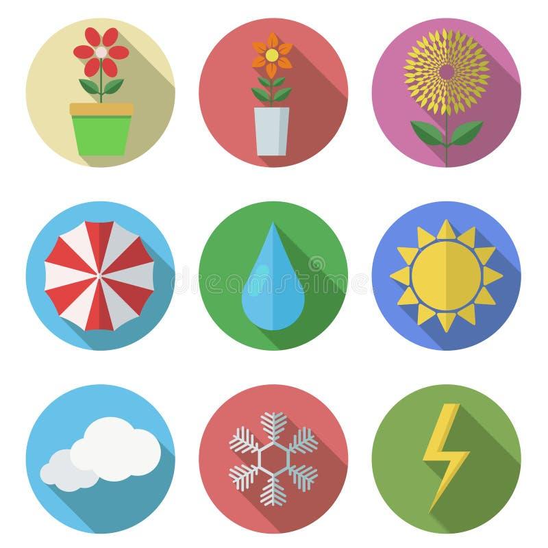 Vector vlakke pictogrammen die op witte achtergrond worden geplaatst. Eps10 stock illustratie