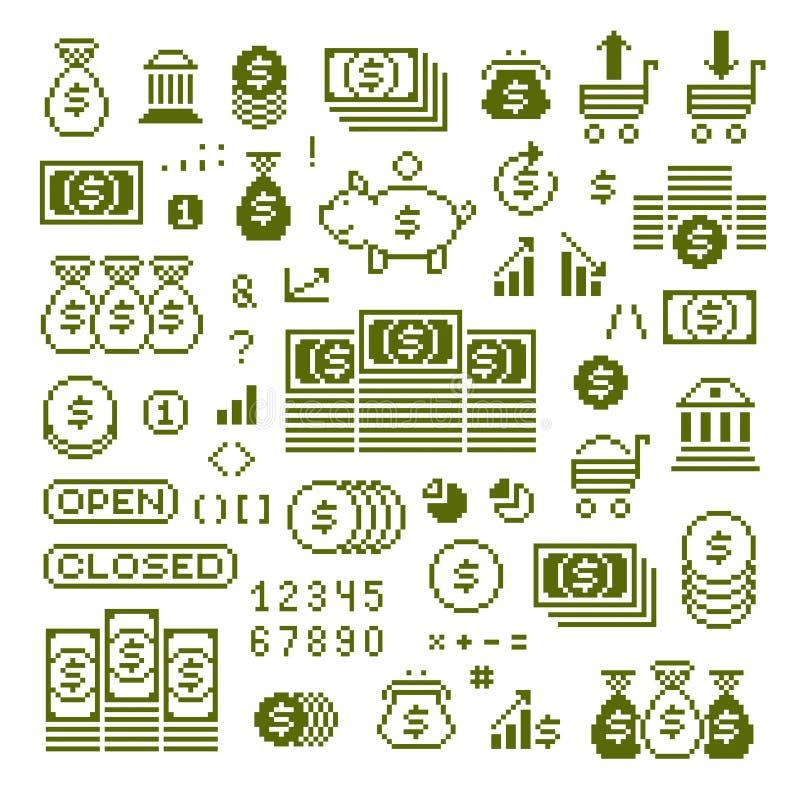 Vector vlakke pictogrammen met 8 bits, inzameling van eenvoudig geometrisch pixel sy vector illustratie