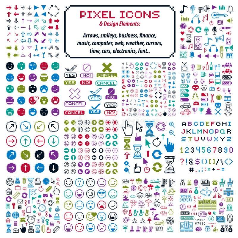 Vector vlakke pictogrammen met 8 bits, inzameling van eenvoudig geometrisch pixel sy stock illustratie
