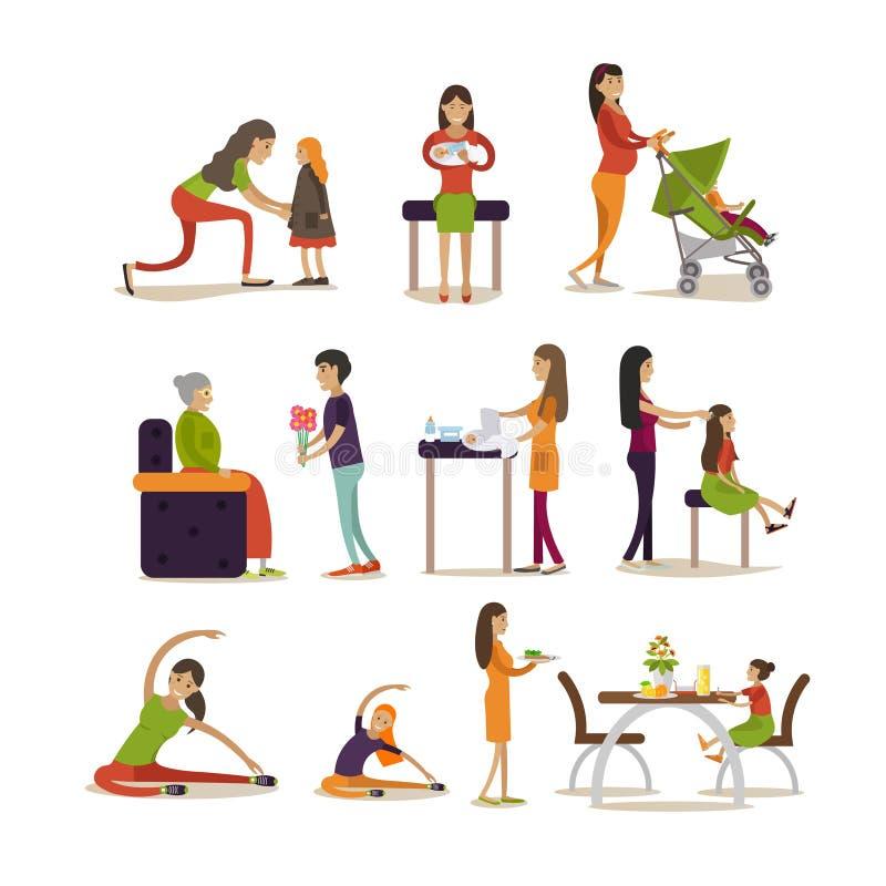 Vector vlakke pictogrammenreeks zwangere vrouwen, moeders en kinderen vector illustratie