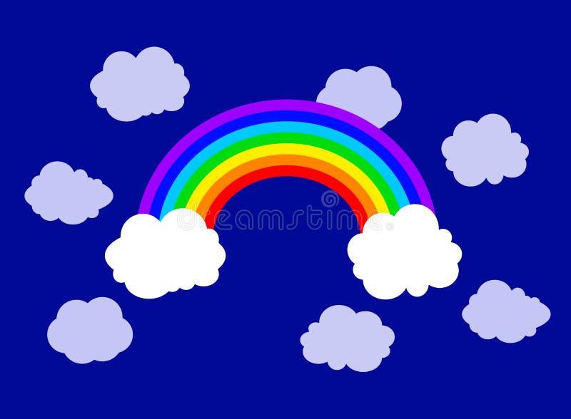 Vector Vlakke Regenboog en Wolkenillustratie, Hemelachtergrond stock illustratie