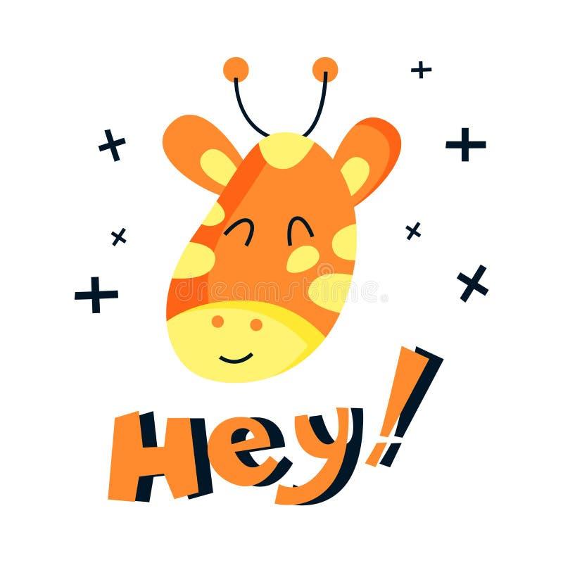 Vector vlakke schattige giraffe-illustratie royalty-vrije illustratie