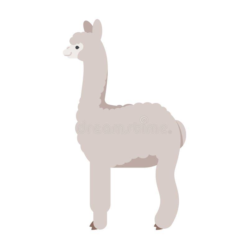 Vector vlakke stijlillustratie van lama royalty-vrije illustratie