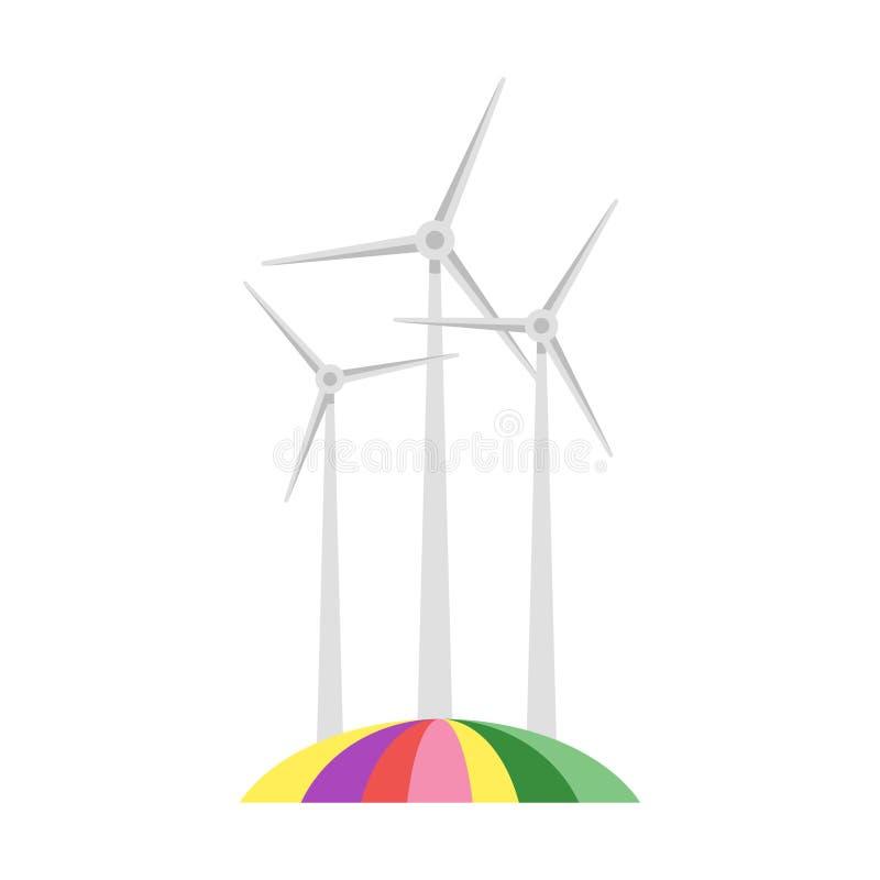 Vector vlakke stijlillustratie van windmolen op kleurrijk gebied royalty-vrije illustratie