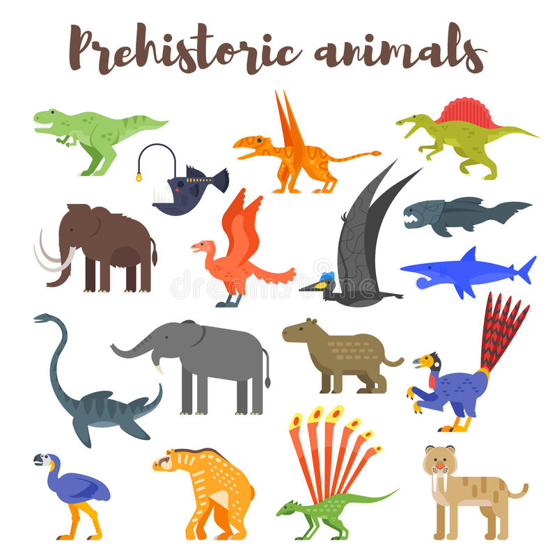 Vector vlakke stijlreeks kleurrijke voorhistorische dinosaurussen en dieren royalty-vrije illustratie