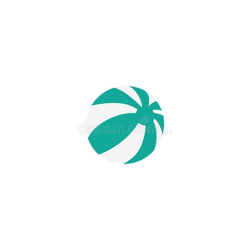 Vector vlakke strand groene gestreepte opblaasbare bal vector illustratie